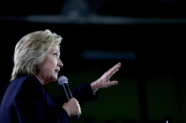 Democratic presidential nominee former Secretary of State Hillary Clinton speaks during a voter registration rally at the University of South Florida on September 6, 2016 in Tampa, Florida. Hillary Clinton is campaigning in Florida.