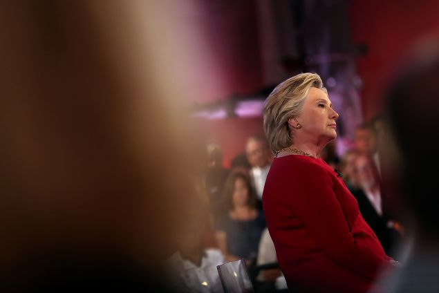 Democratic presidential nominee Hillary Clinton participates in the NBC News Commander-in-Chief Forum on September 7, 2016 in New York City. Clinton and Republican presidential nominee Donald Trump are participating in the NBC News Commander-in-Chief Forum.