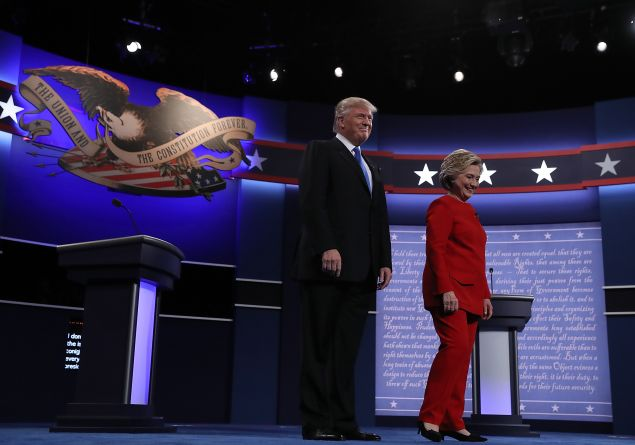 Donald Trump and Hillary Clinton tonight.