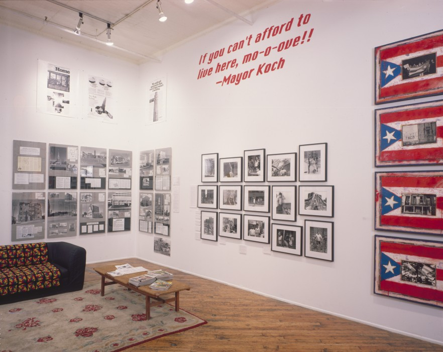 Martha Rosler, installation view of 77 Wooster Street, New York City.