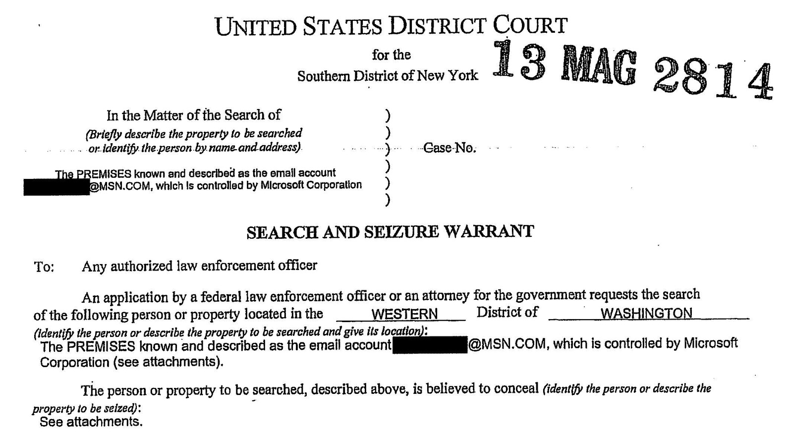 This search warrant clearly spells out who the government thinks controls email accounts – the provider, not the user.