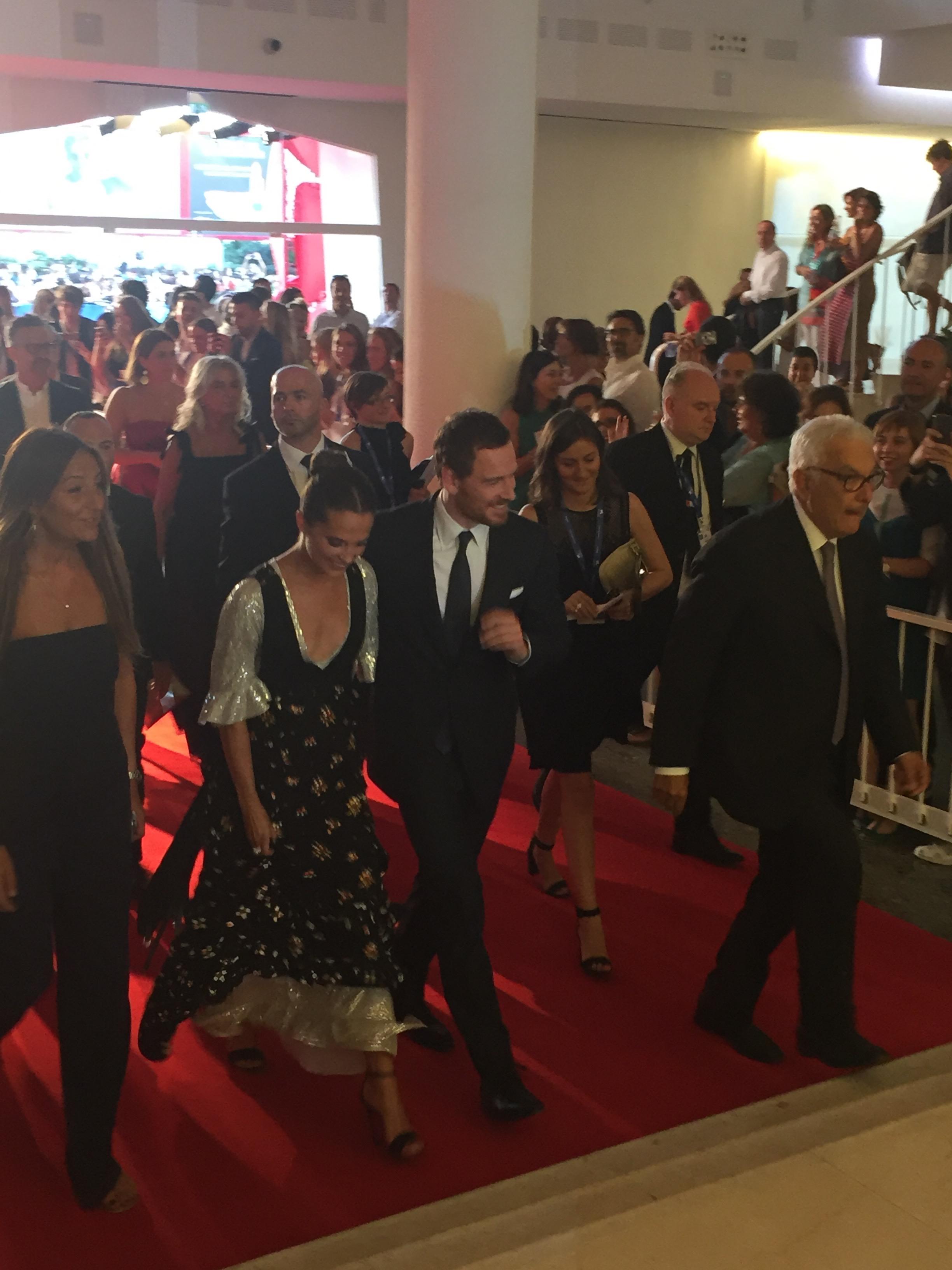 Alicia Vikander and Michael Fassbender arrive to the Venice Film Festival.