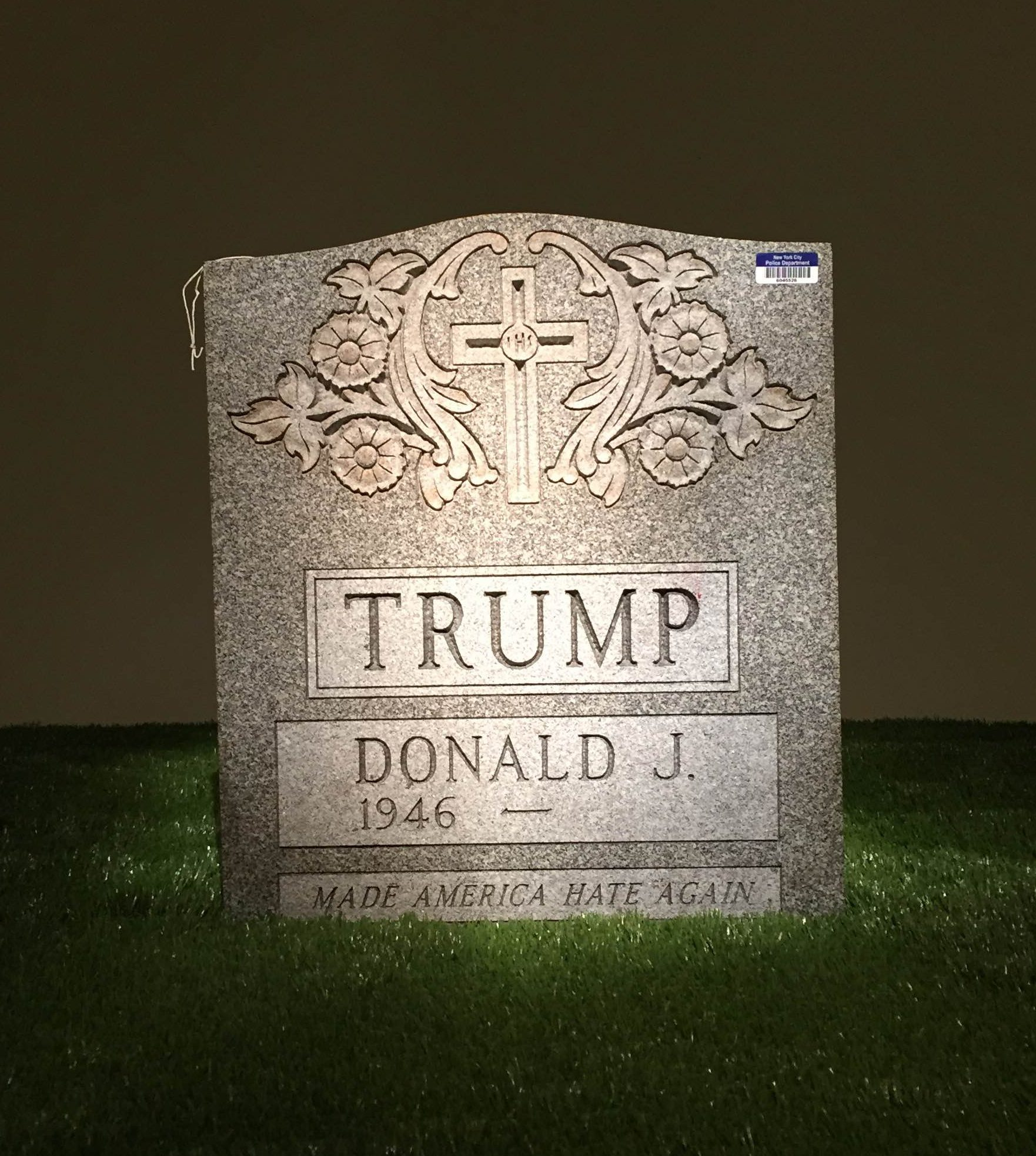 Trump Tombstone by artist Brian Andrew Whiteley.