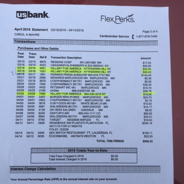 Hillary for America processed $94 in unauthorized charges to Carol Mahre's US Bank account.