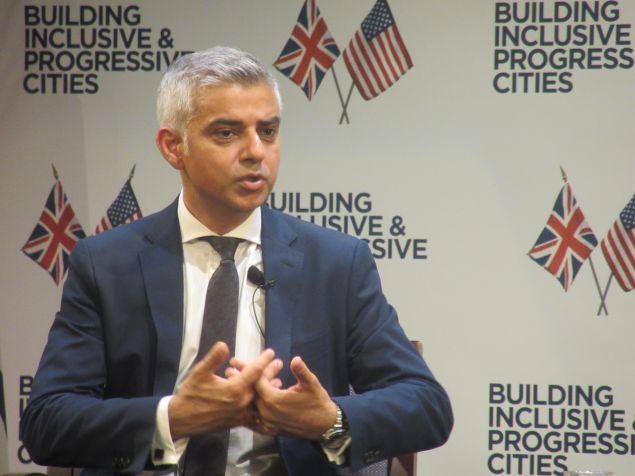 London Mayor Sadiq Khan speaks during a forum in Long Island City.