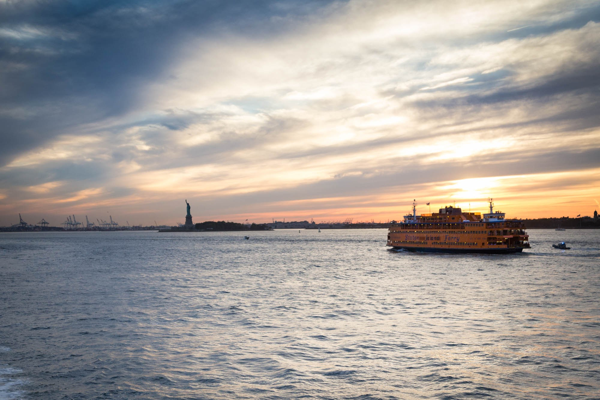 The Staten Island Ferry at sunset.