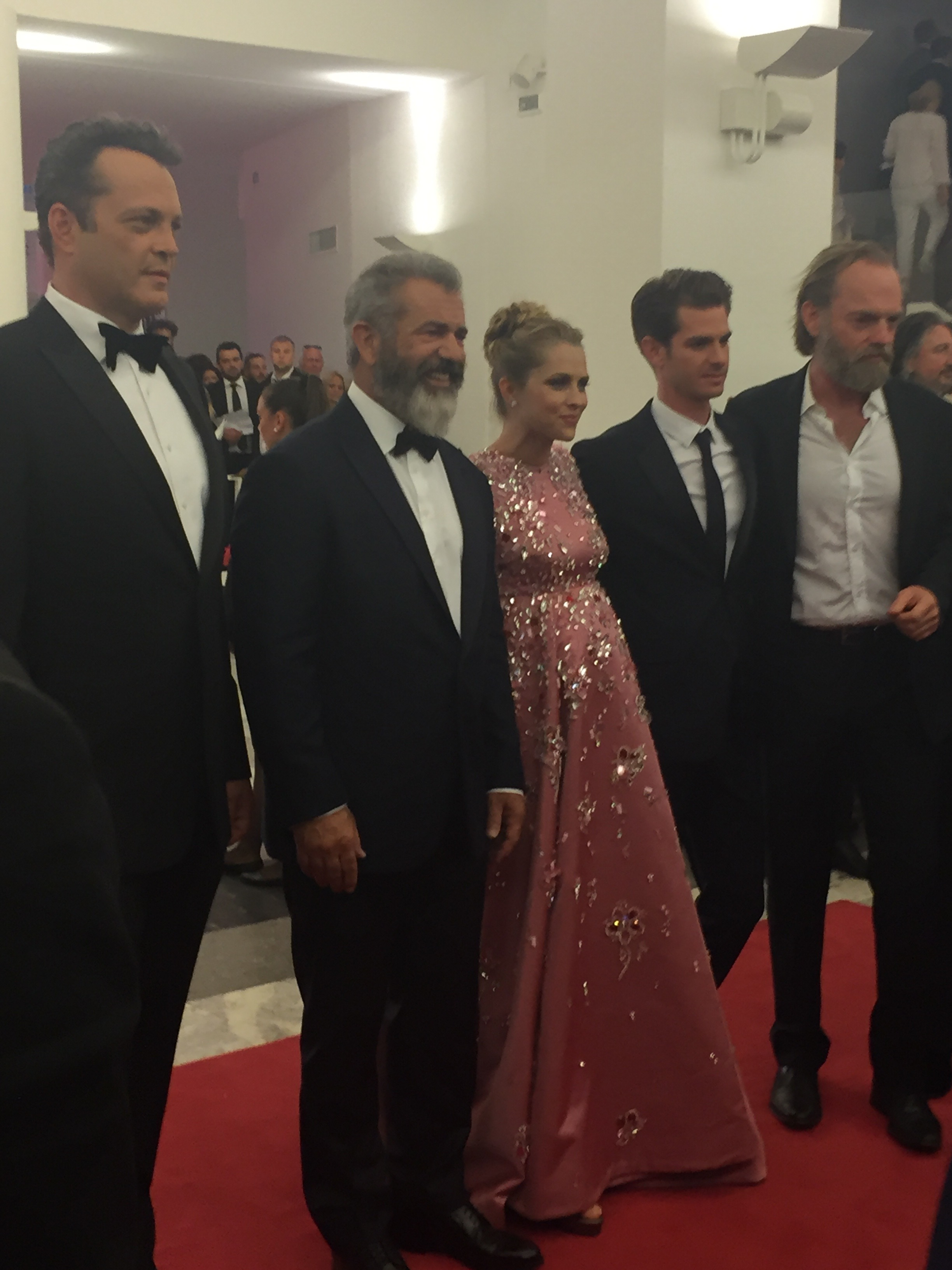 The stars of Hacksaw Ridge, looking totally at ease next to normal celebrity Mel Gibson.