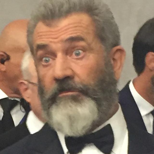 Mel Gibson, normal celebrity, at Venice Film Festival for his film Hacksaw Ridge.