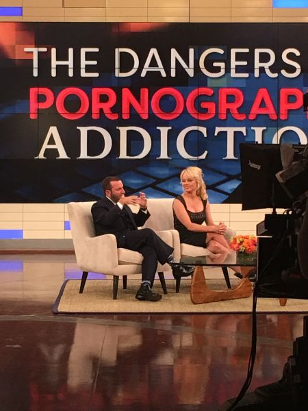 Rabbi Shmuley Boteach and Pamela Anderson taping a segment on the Dr. Oz Show, slated to air in late October