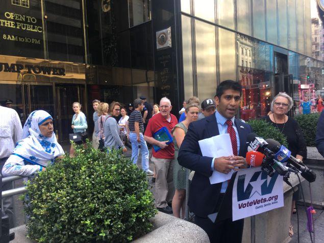 Shah Chowdhury speaks outside Trump Tower.