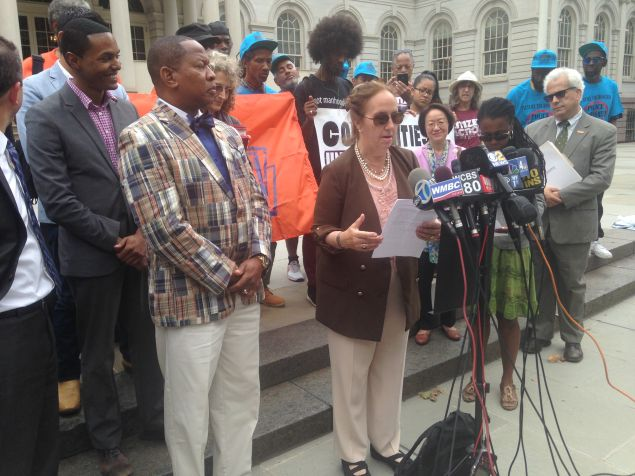 Manhattan Borough President Gale Brewer, elected officials and advocates are filing legal action against the city's concealment of NYPD misconduct information.