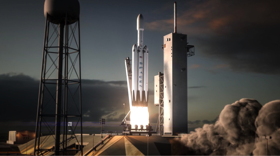 Concept art of SpaceX's upcoming Falcon Heavy rocket