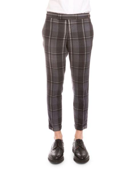 Thom Browne Distressed Plaid Twill Cropped Trousers, Medium Gray, $1,440