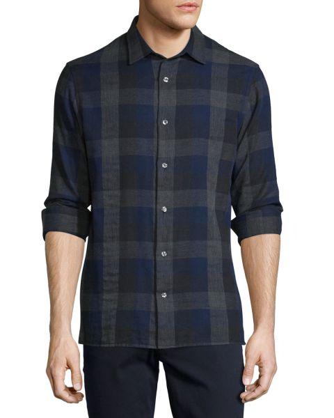 Vince, Melrose Melange Plaid Sport Shirt, Blue, $225