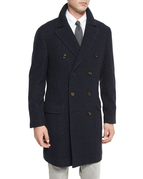 Brunello Cucinelli, Glen Plaid Double-Breasted Topcoat, Navy, $6,175