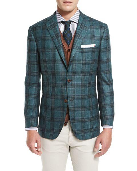Kiton, Plaid Cashmere Three-Button Sport Coat, Sea Green, $7,495