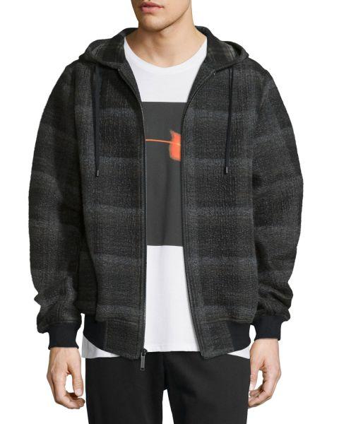 Public School, Plaid Ruched-Sleeve Hooded Jacket, $695