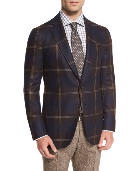 Exploded Windowpane Two-Button Sport Coat, Brown, $2,995.00