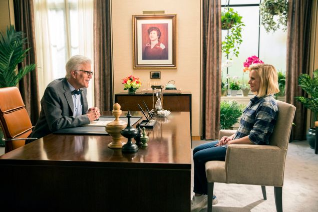 Ted Danson as Michael and Kristen Bell as Eleanor.