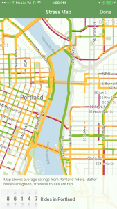 A view of Portland inside the Ride Report app.