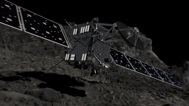 Artist's impression of the Rosetta space probe shortly before hitting Comet 67P/Churyumov–Gerasimenko on 30 September 2016