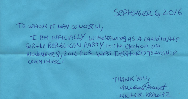 The resignation letter of Mike Krawitz, who withdrew from his township committee race this week after telling a journalist on Twitter that he hoped she would be raped.
