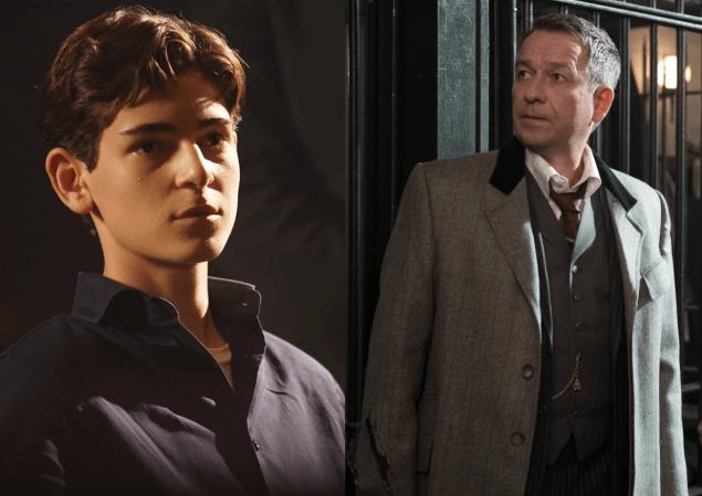 David Mazouz as Bruce Wayne, Sean Pertwee as Alfred Pennyworth.