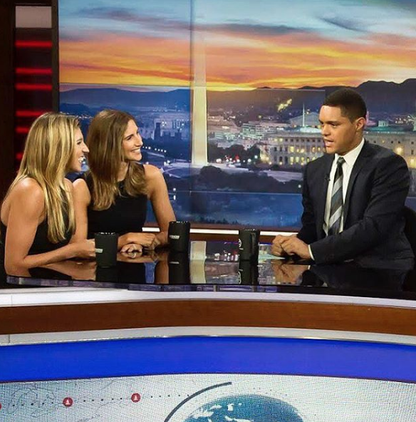 TheSkimm founders with Trevor Noah.