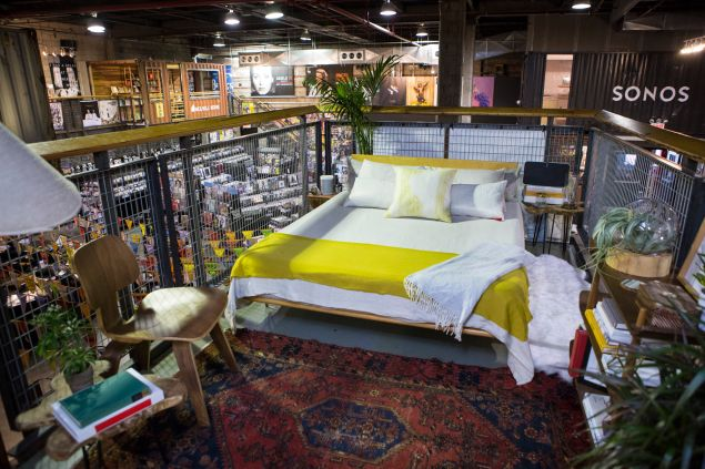 Sonos partnered with West Elm to provide a luxe in-store bedroom