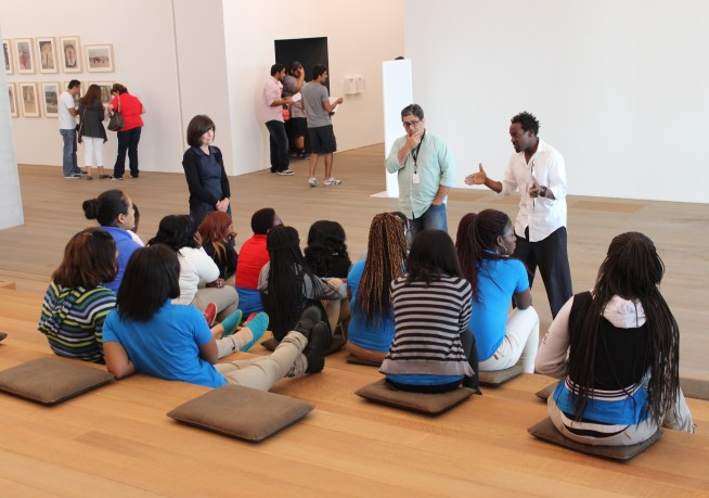 A school group at the Perez Art Museum Miami.