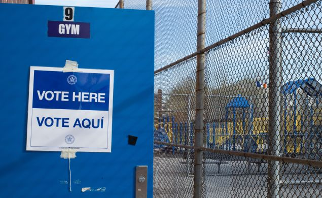 A polling place in the Bronx.