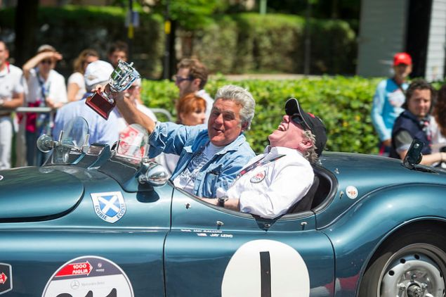 Jay Leno at the 2014 Mille Miglia, a racing event in Italy featuring historic Jaguars.
