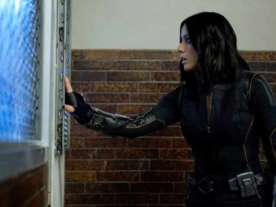 Chloe Bennet as Daisy Johnson.