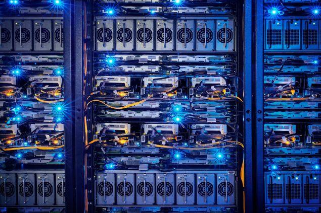 Supercomputers at Facebook's Luleå data center.