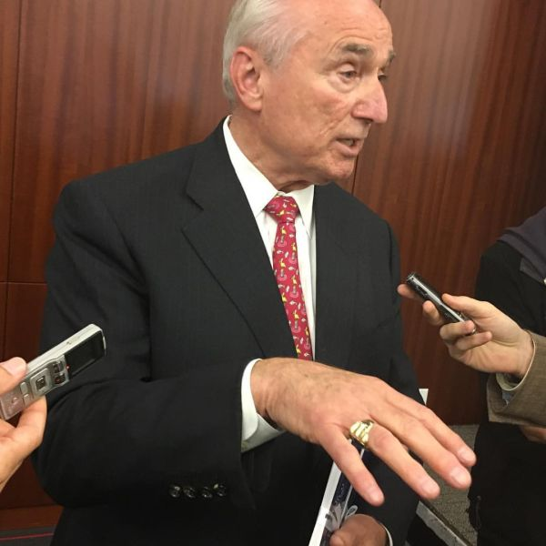 Former Police Commissioner Bill Bratton addresses reporters following a speech at the New York Law School.
