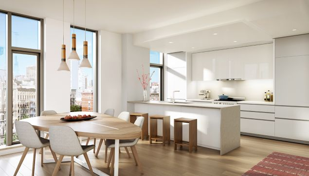 A sleek kitchen at 150 Rivington.