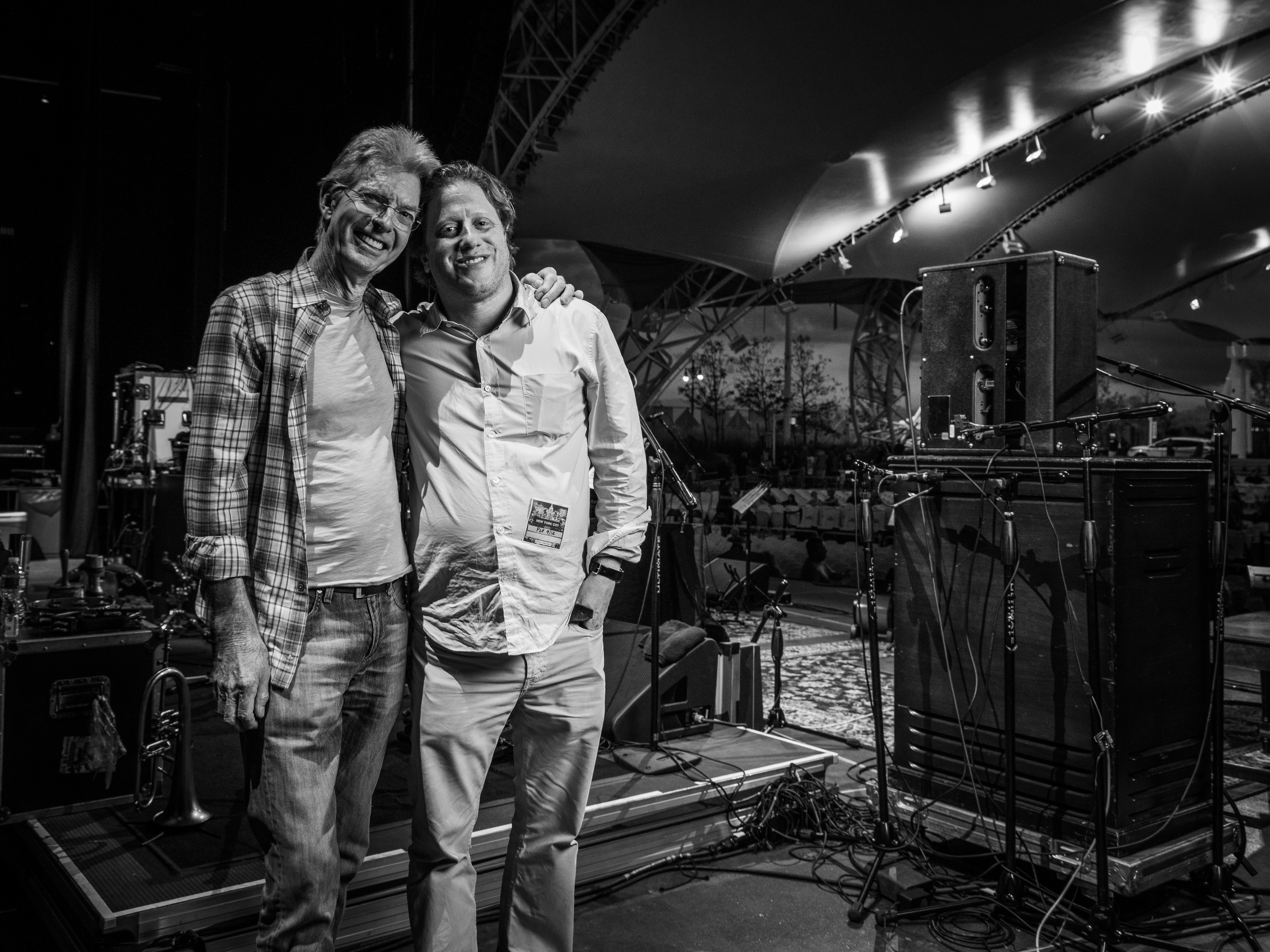 Phil Lesh and Peter Shapiro onstage before Lesh's first of two shows at Coney Island.