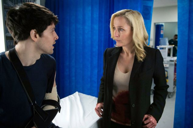 "Colin Morgan and Gillian Anderson in ""The Fall."""