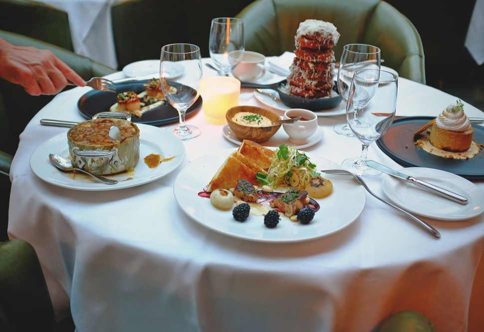 A fall feast at Baltaire could include foie gras, French onion soup, Maine diver scallops, onion rings and pumpkin cheesecake.