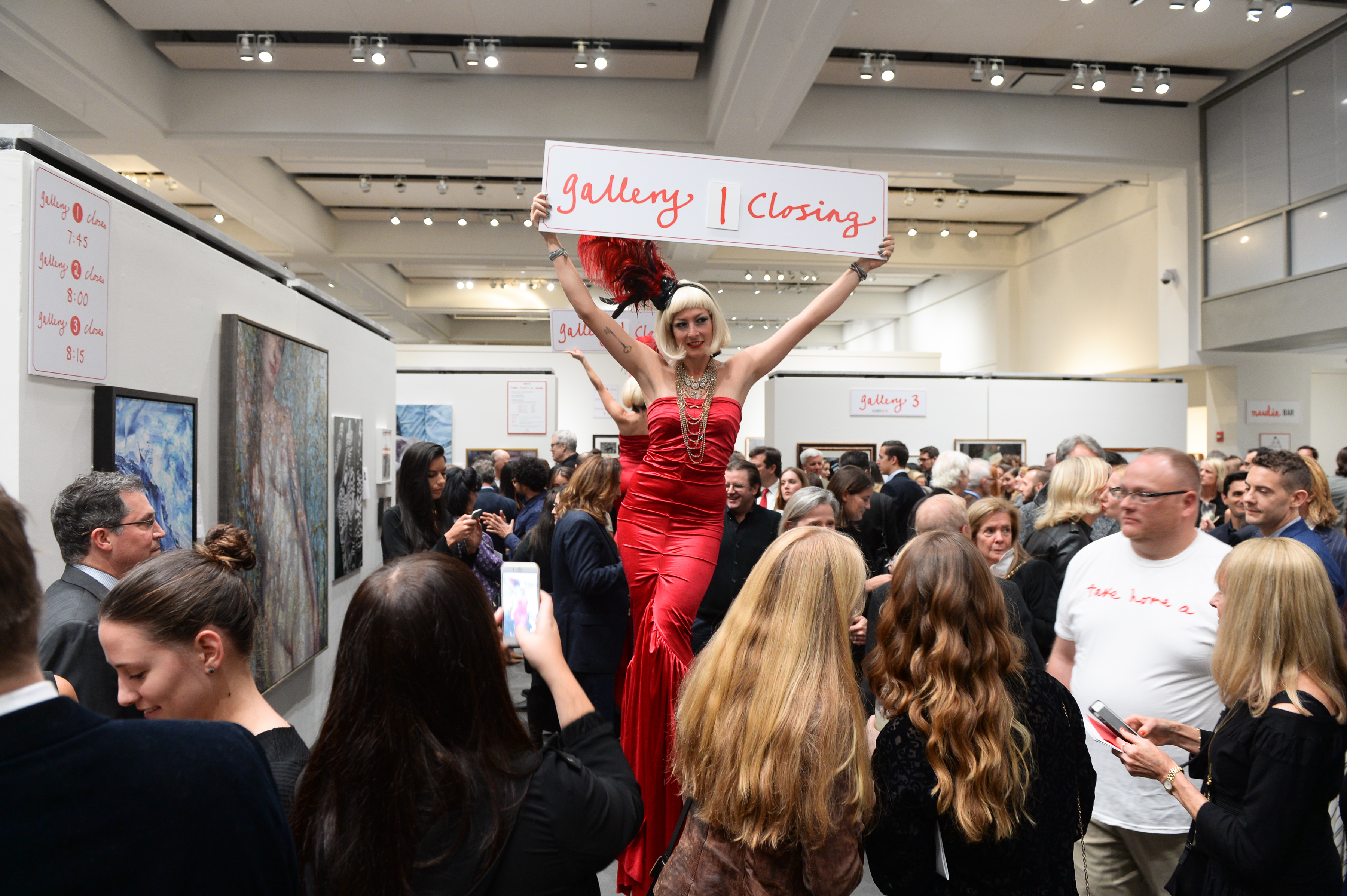 Attendees art the New York Academy of Art's annual Take Home a Nude auction.