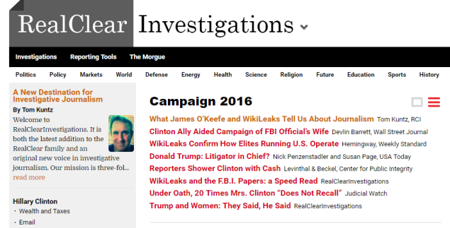 Screenshot of the RealClearInvestigations site.