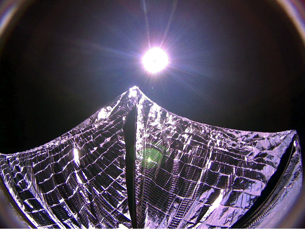 """Lightsail 1 took a """"selfie"""" after its solar sails deployed while in orbit on June 8th, 2015"""