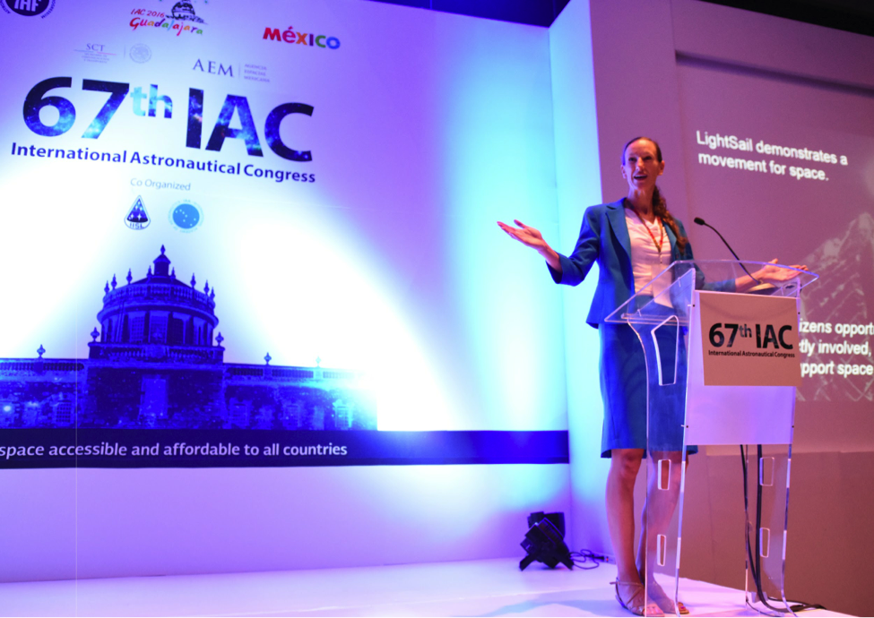 Planetary Society Communications Director Erin Greeson speaks at the IAC in Guadalajara, Mexico