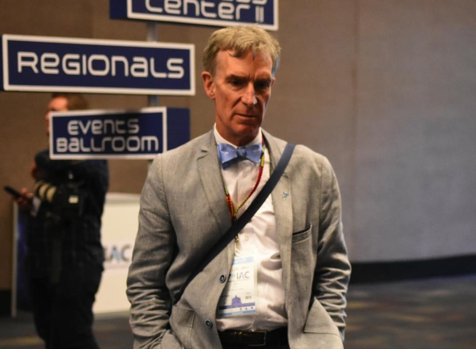 Bill Nye awaits entry into Elon Musk's Mars colonization talk at the IAC in Guadalajara