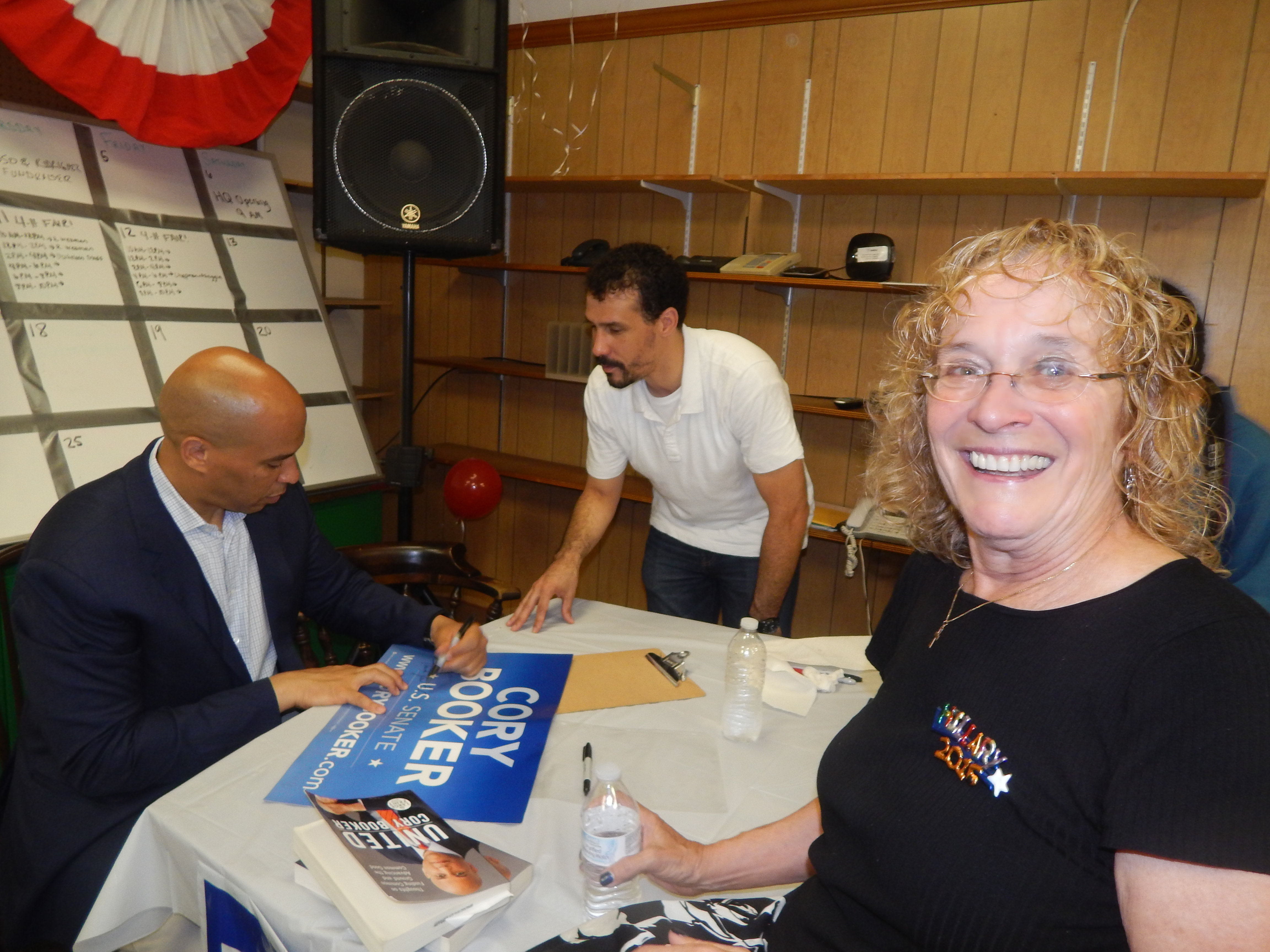 Senator Booker attended the Somerset Dems' HQ opening with Chair Peg Schaffer and Executive Director Jon Evans.