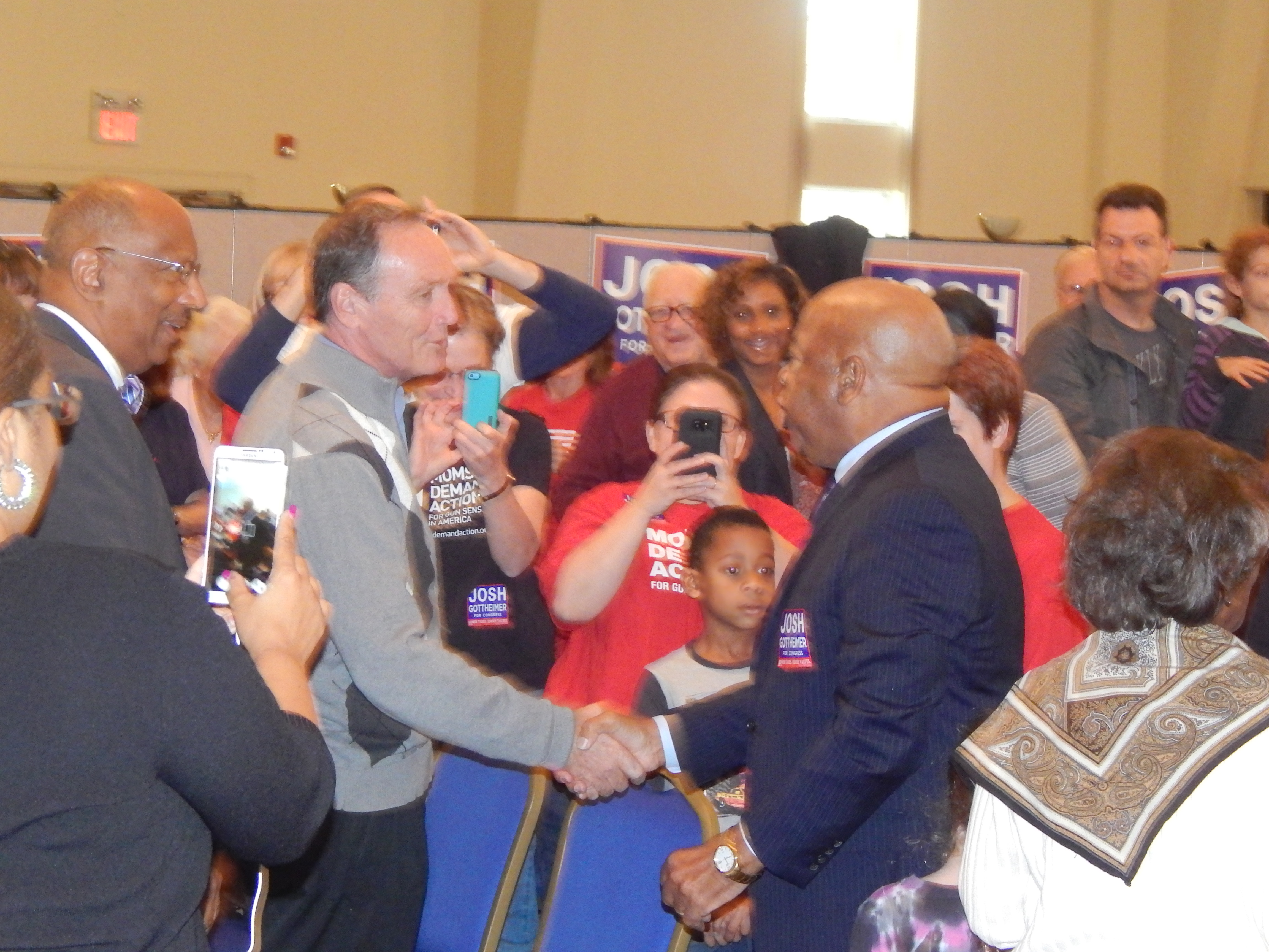 The congressman is welcomed to Bergen County by Assemblyman Tim Eustace (D-Maywood).