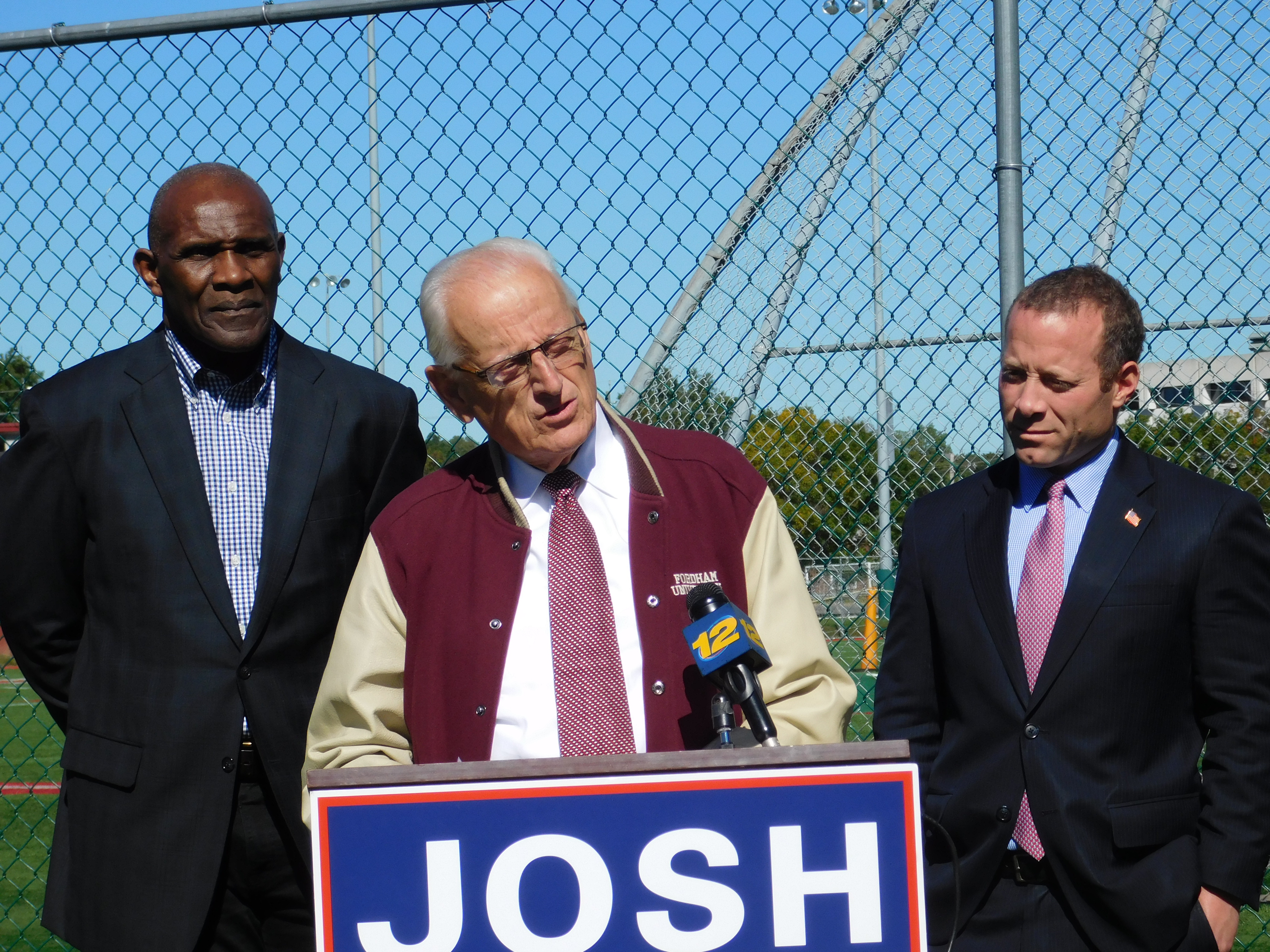 Josh Gottheimer (right) with Bill Pascrell and former football player Harry Carson. Gottheimer's statements on Garrett followed a press conference on concussion legislation efforts.