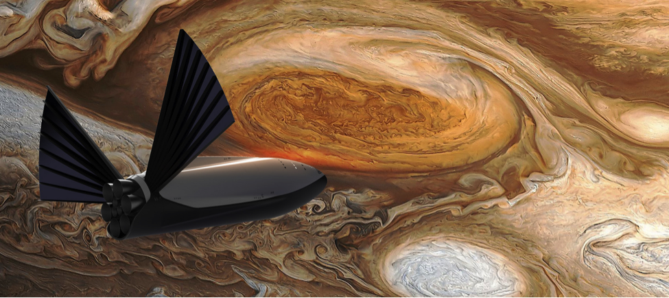 Concept art of SpaceX's Interplanetary Transport System flying by Jupiter