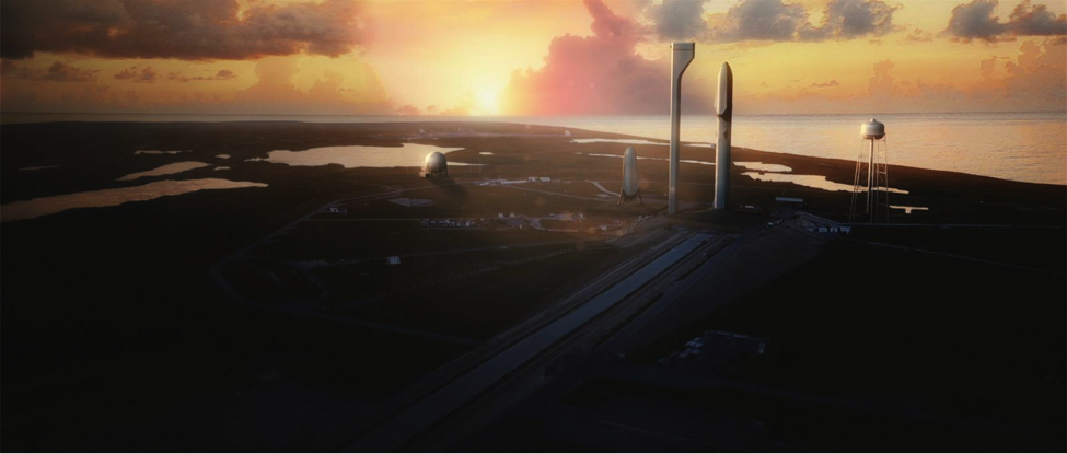 Concept art of the Interplanetary Transport System at Launch pad 39A at Kennedy Space Center
