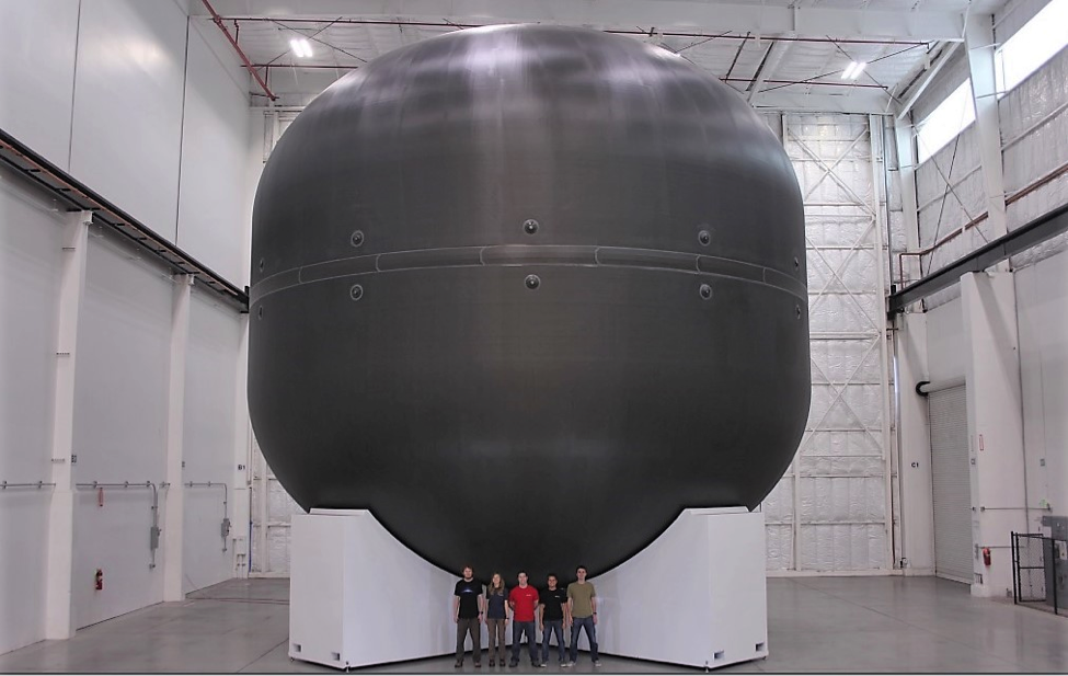 A prototype of the carbon-fiber fuel tank that will fold the propellant for the Interplanetary Transport System